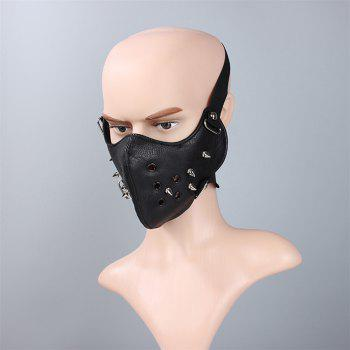 Hot Selling Leather Personality Punk Wind Riveting Locomotive Mask - BLACK