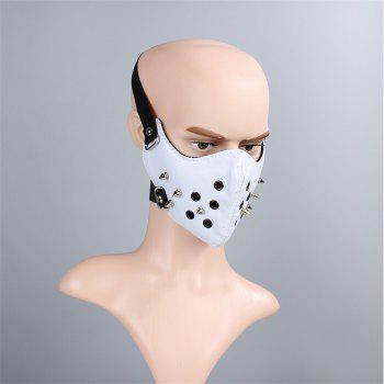 Hot Selling Leather Personality Punk Wind Riveting Locomotive Mask - WHITE
