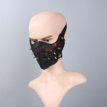 Hot Selling Leather Personality Punk Wind Riveting Locomotive Mask - BLACK/RED