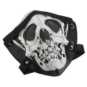 Hot Leather Windproof Anti Haze Personality Skeleton Locomotive Mask - BLACK WHITE