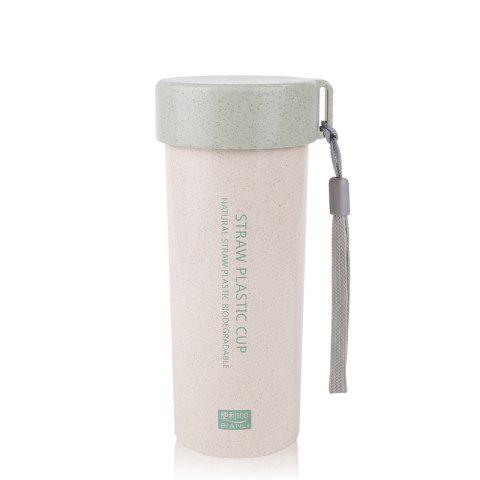 Female Student Portable Wheat Straw Plastic Cup with Cover and Rope Sling - BLUE 450ML