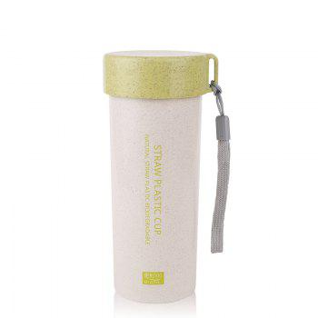 Female Student Portable Wheat Straw Plastic Cup with Cover and Rope Sling - GREEN GREEN