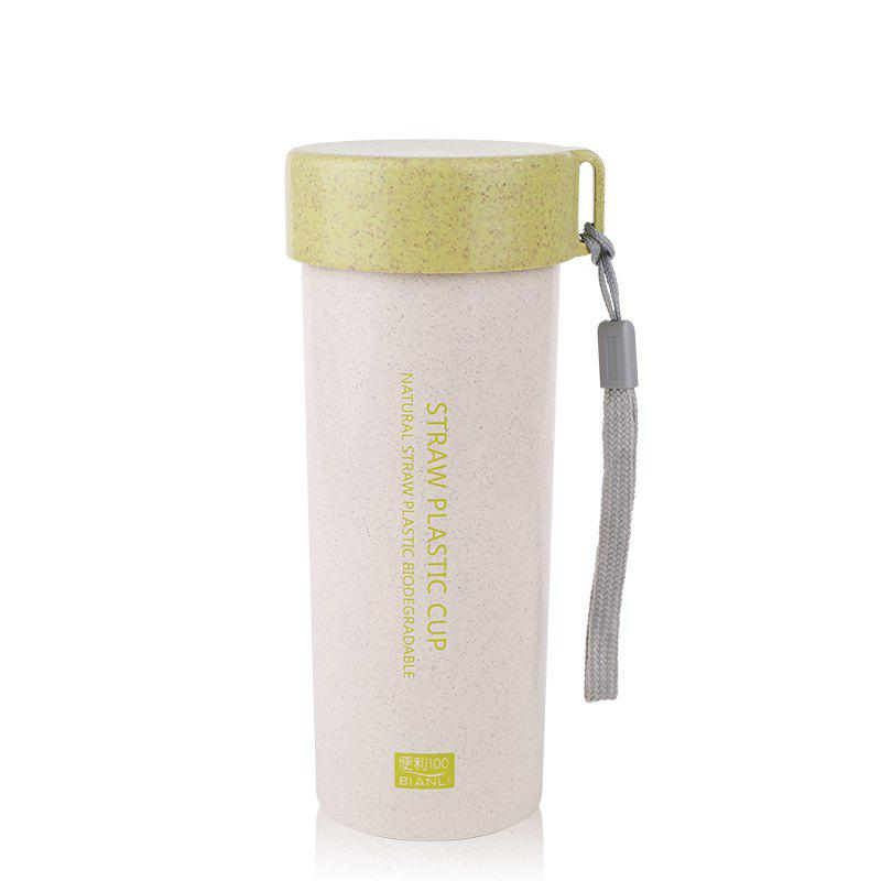 Female Student Portable Wheat Straw Plastic Cup with Cover and Rope Sling - GREEN 450ML