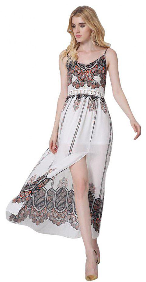 Women Summer Ethnic Bohemian Harness Printed Beach Dress - WHITE L