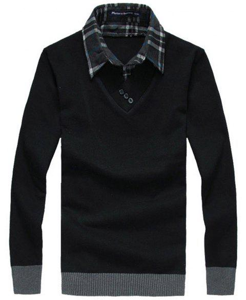 Men'S Sweaters Fashion Fake Two Pieces Pullover Knitwear - BLACK 2XL