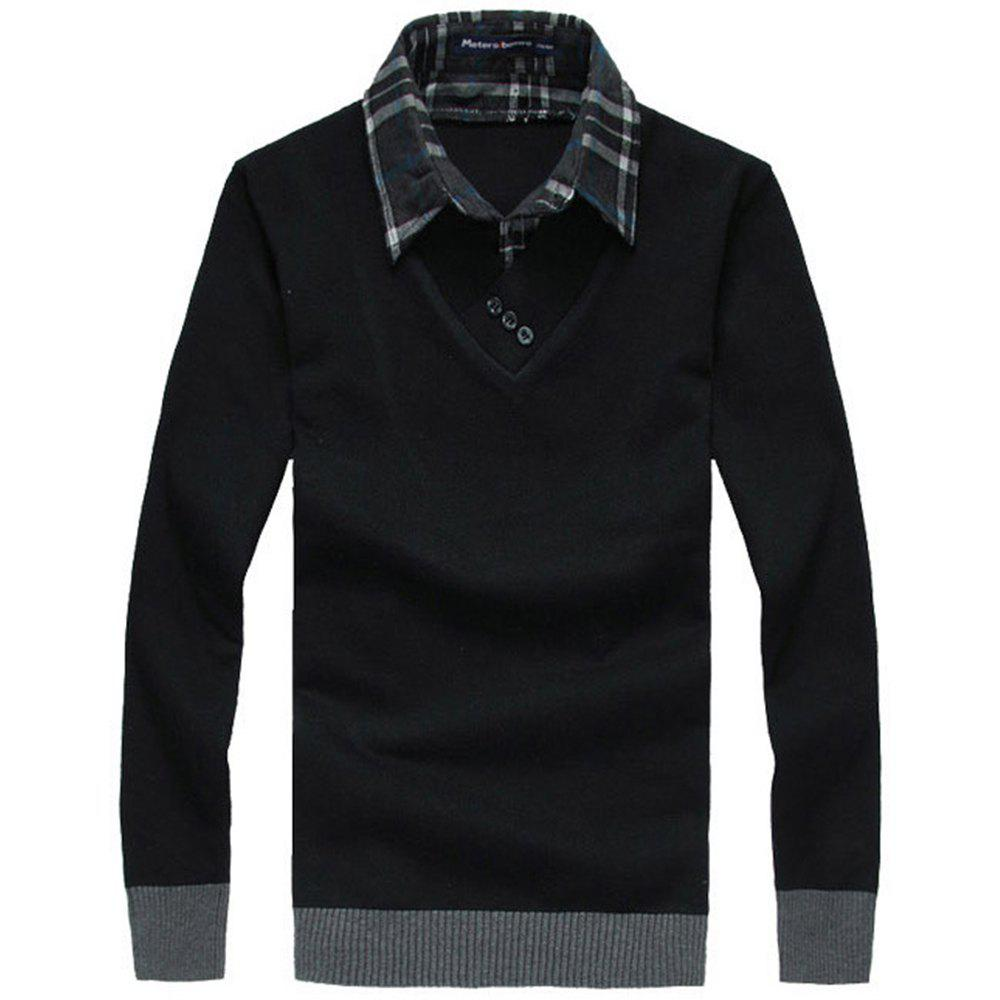 Men'S Sweaters Fashion Fake Two Pieces Pullover Knitwear fashion knitwear