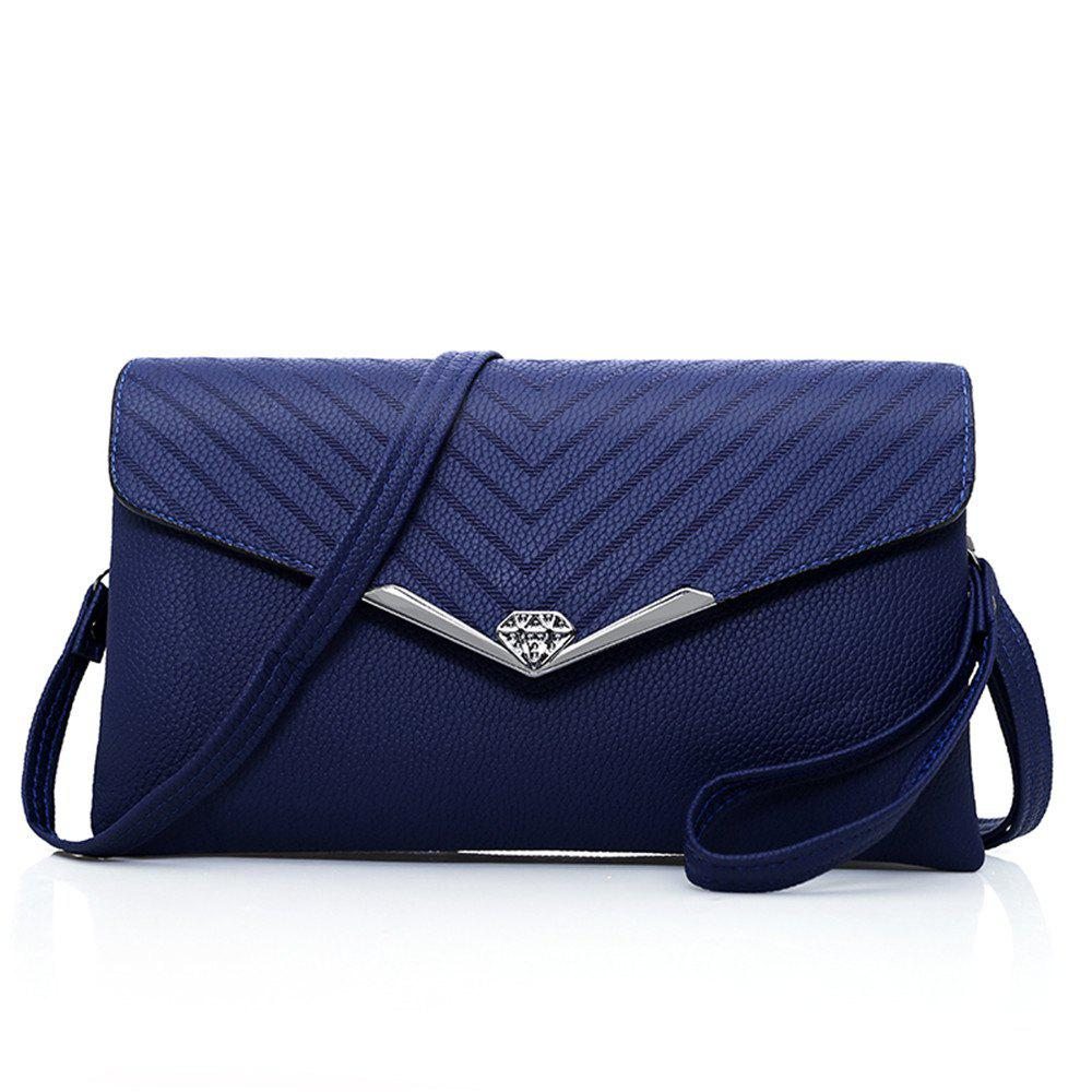 New Soft Leather Shoulder Bag Handbags - BLUE HORIZONTAL