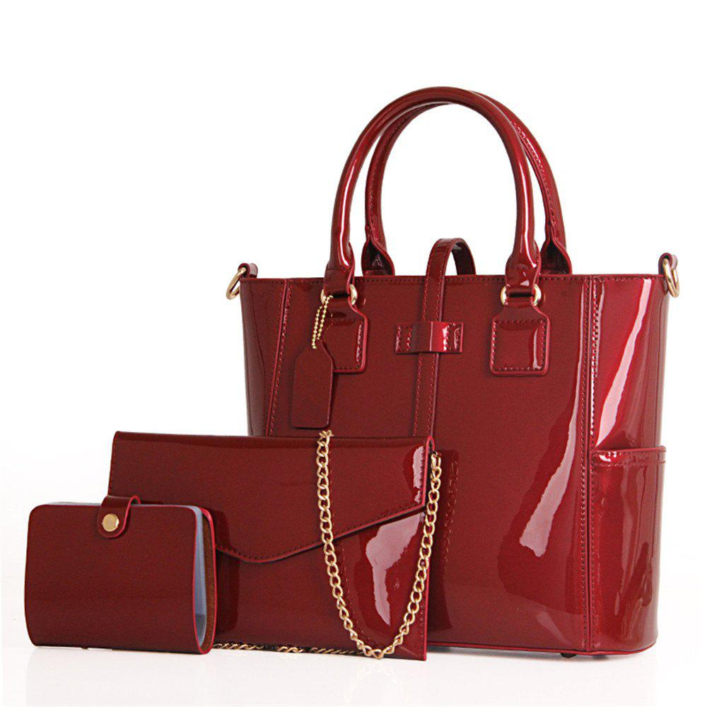 Bright Leather Single Shoulder Bag - WINE RED VERTICAL