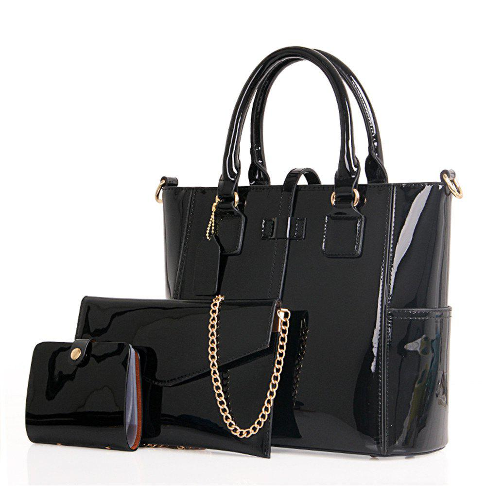 Bright Leather Single Shoulder Bag - BLACK VERTICAL