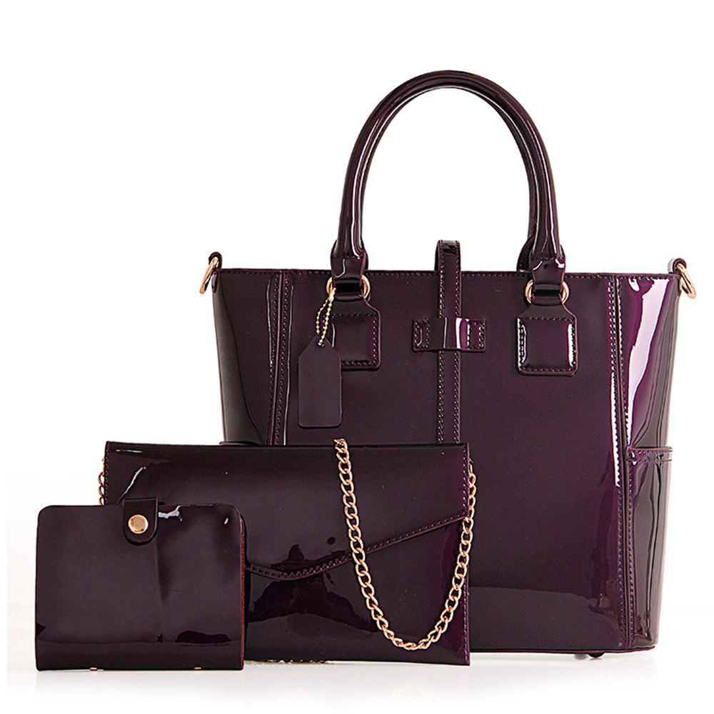 Bright Leather Single Shoulder Bag - PURPLE VERTICAL