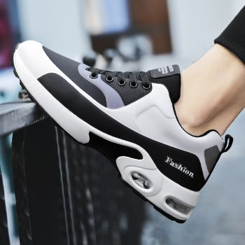 New Men'S Round Head Casual Sports Shoes - BLACK WHITE 35