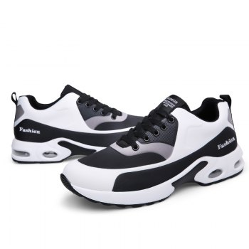 New Men'S Round Head Casual Sports Shoes - BLACK WHITE 36