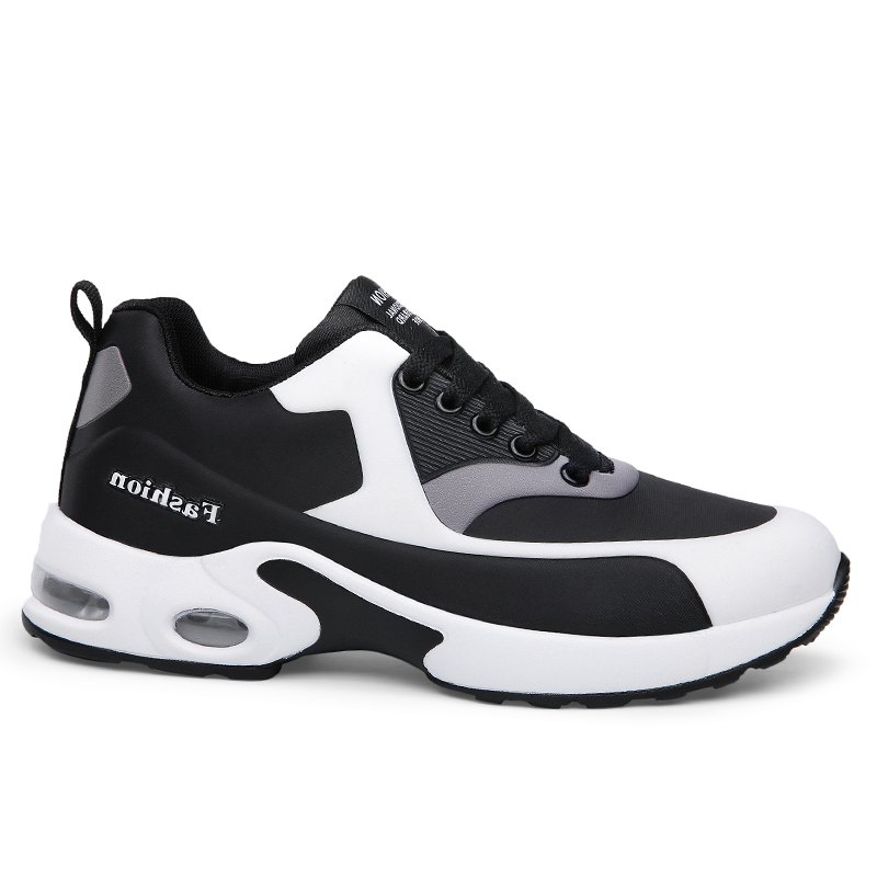 New Men'S Round Head Casual Sports Shoes - BLACK WHITE 37