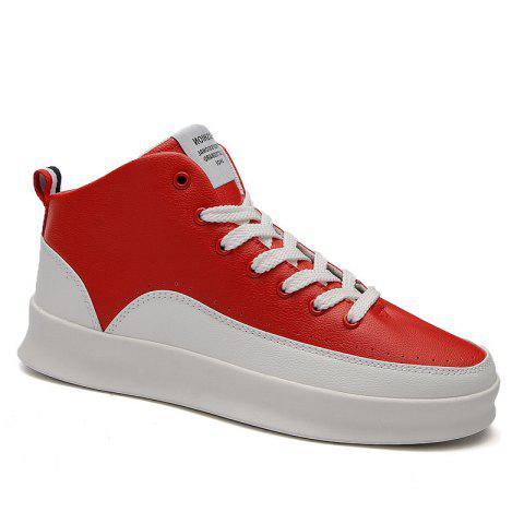 Fashionable Leisure High Barrel Sports Shoes - RED 40