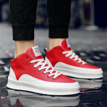Fashionable Leisure High Barrel Sports Shoes - RED 42