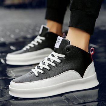 Fashionable Leisure High Barrel Sports Shoes - BLACK WHITE BLACK WHITE