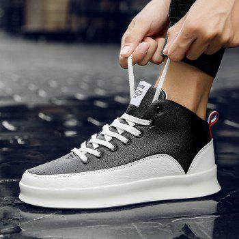 Fashionable Leisure High Barrel Sports Shoes - BLACK WHITE 44