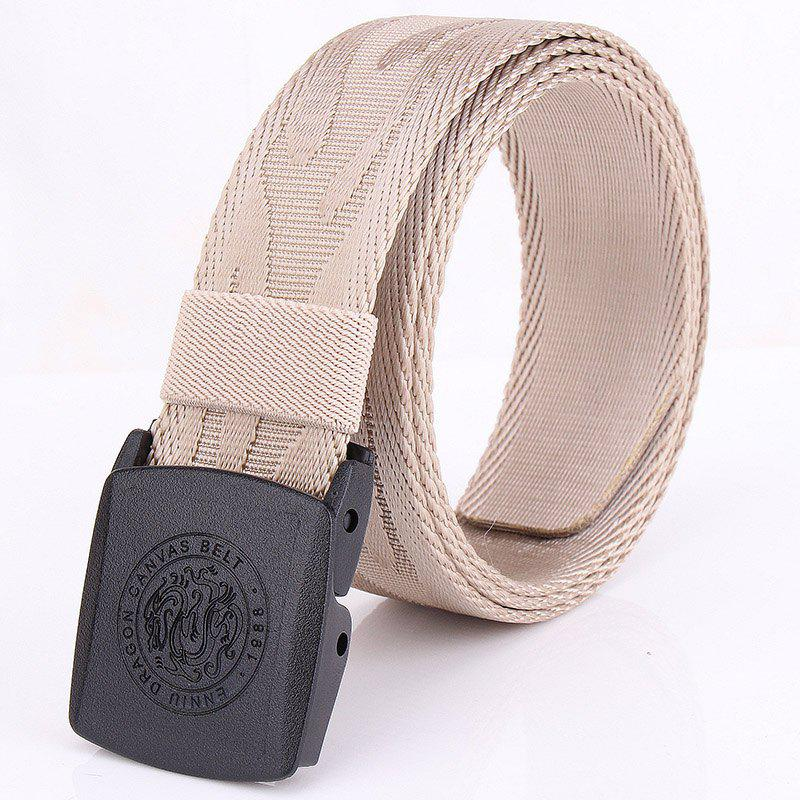 ENNIU Korean Style Adjustable Nylon  Weaving Belt Anti Allergy Stretch Durable Belt - KHAKI