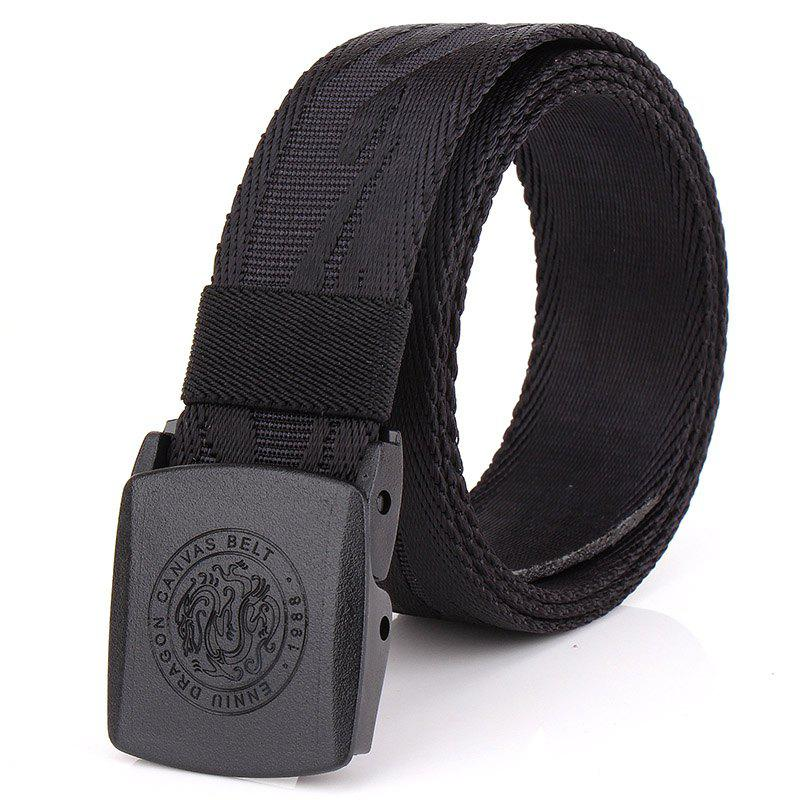 ENNIU Korean Style Adjustable Nylon  Weaving Belt Anti Allergy Stretch Durable Belt - BLACK