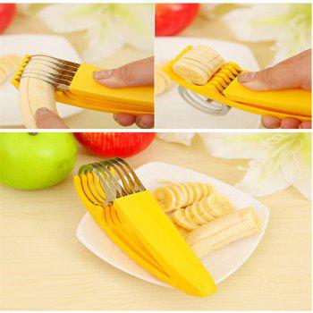 Stainless Steel Banana Slicer Fruit Cutter Cucumber Chopper Salad blade Ham sausage Slicer Home Kitchen Tools - YELLOW