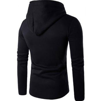 Men'S New Fashion Oblique Zipper Design Hoodies - BLACK 2XL