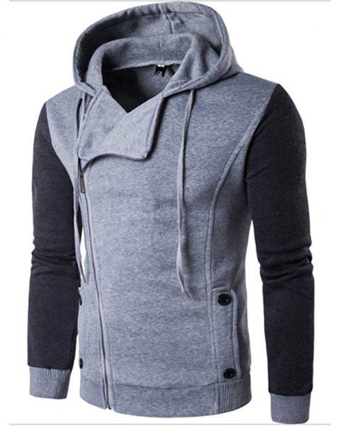 Men'S New Fashion Design Splicing Casual Hoodie - LIGHT GRAY L