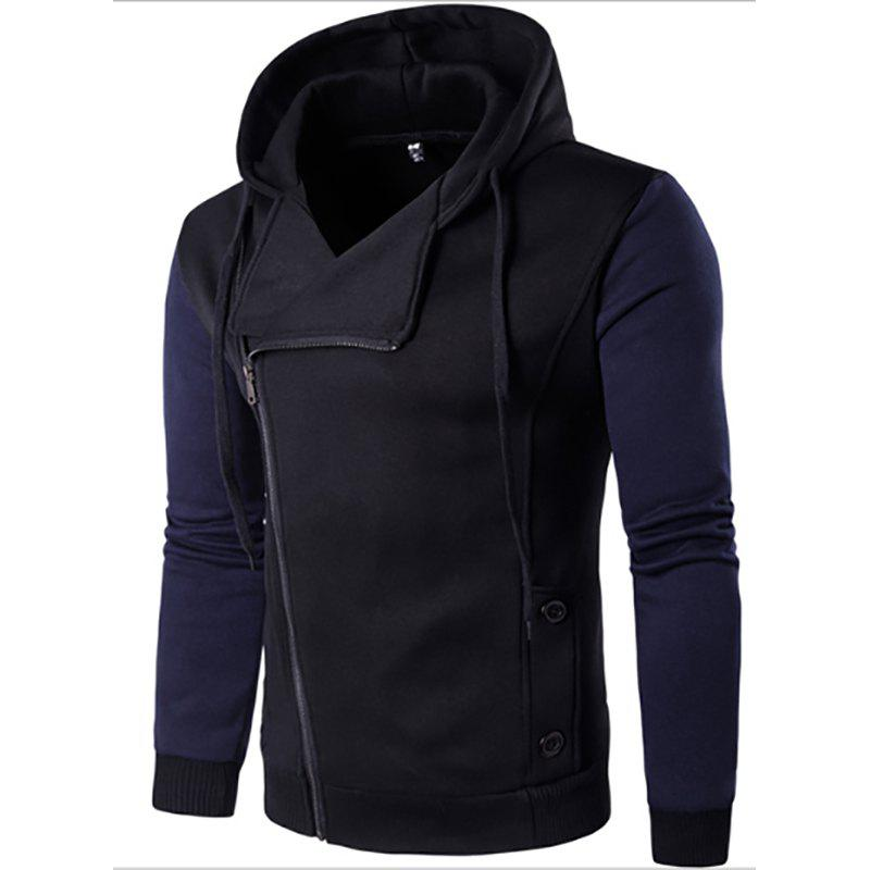 Men'S New Fashion Design Splicing Casual Hoodie - BLACK L