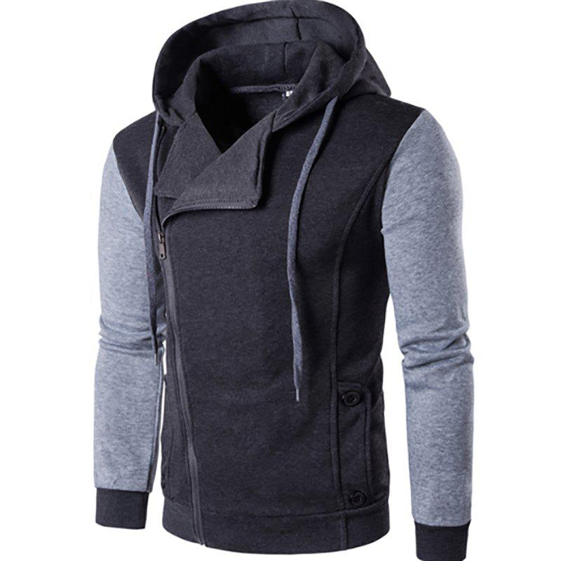 Men'S New Fashion Design Splicing Casual Hoodie - DEEP GRAY L