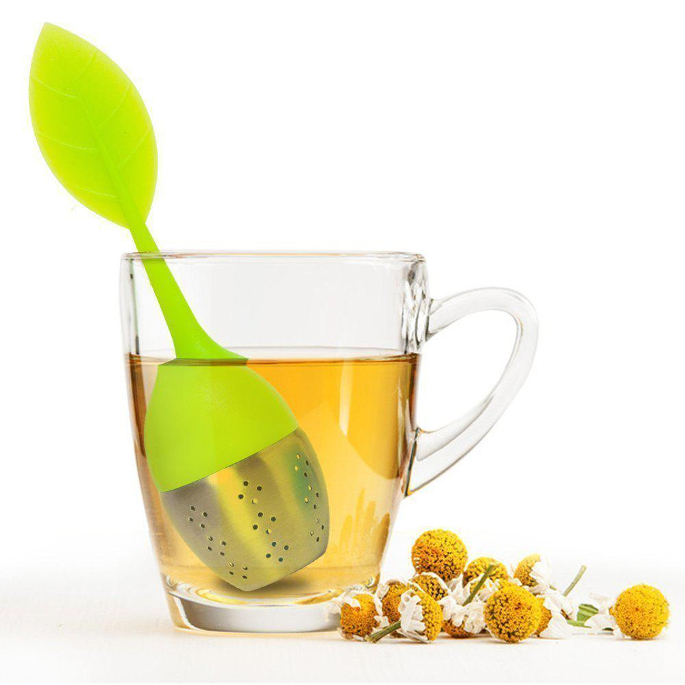 Silicone Leaf Handle Tea Infuser with Stainless Steel Strainer Filter for Loose Tea Fennel Tea Herbal Tea Green - GREEN