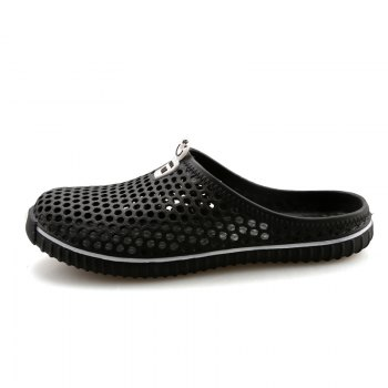 Slippers Beach Shoes Hollow Out Breathable Couples - BLACK 45