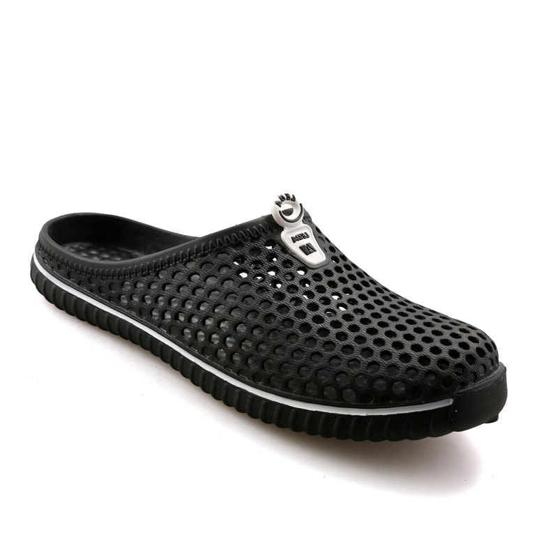 Slippers Beach Shoes Hollow Out Breathable Couples - BLACK 37