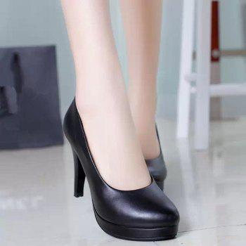 Thin And Round Head OL Professional High Heel Women's Shoes - BLACK 39