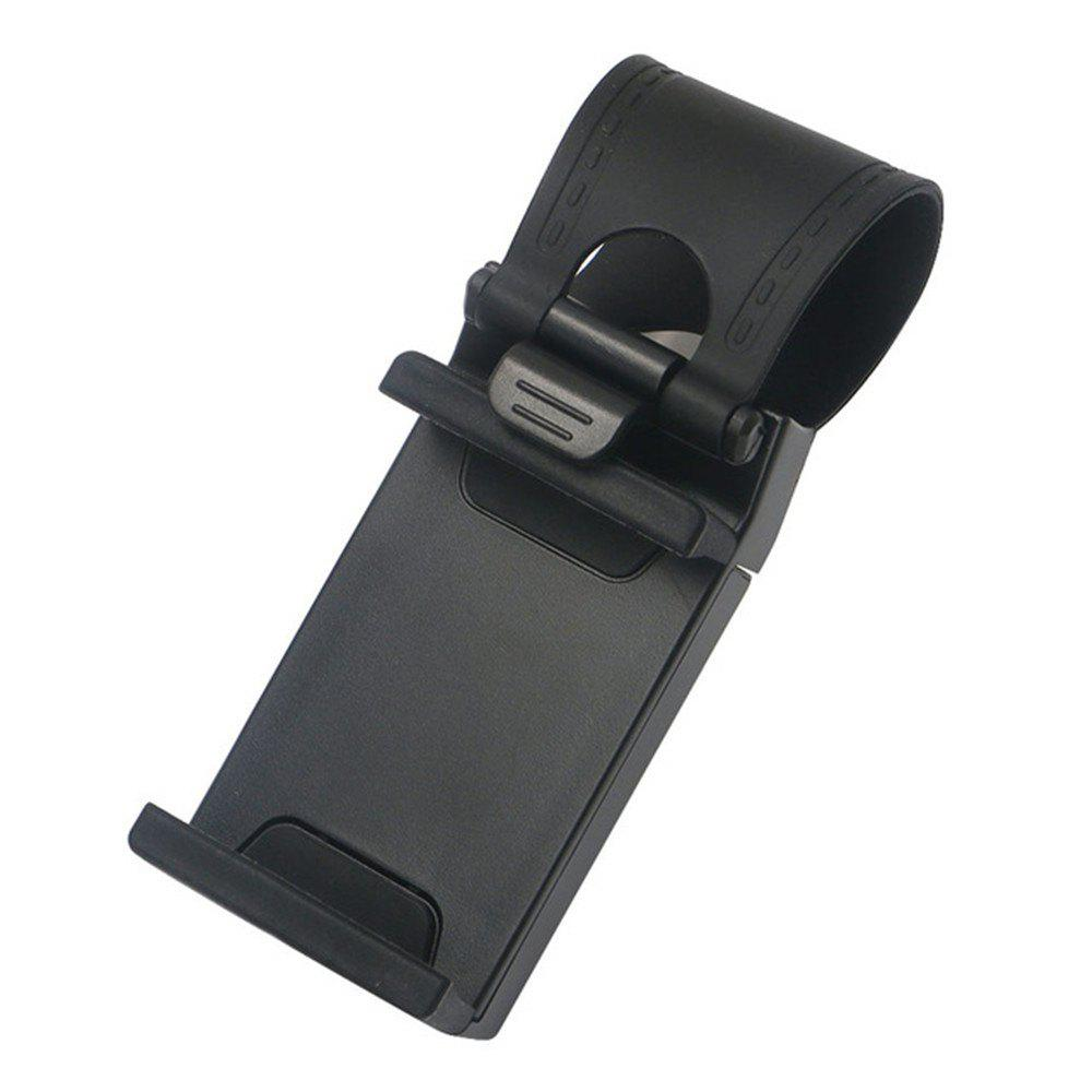 Universal Stand Car Steering Wheel Clip Mount Holder for Mobile Phone GPS Accessories - BLACK