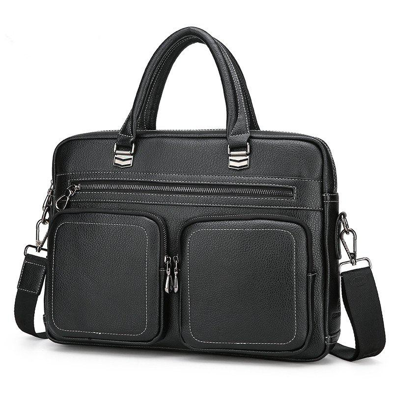 Business Handbag Double Pocket Shoulder Messenger Briefcase - BLACK