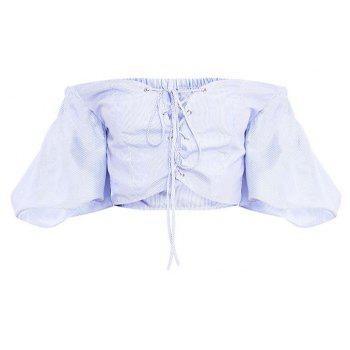 Women'S Blue Striped Strapless Lantern Sleeve Shirt - LIGHT BULE S