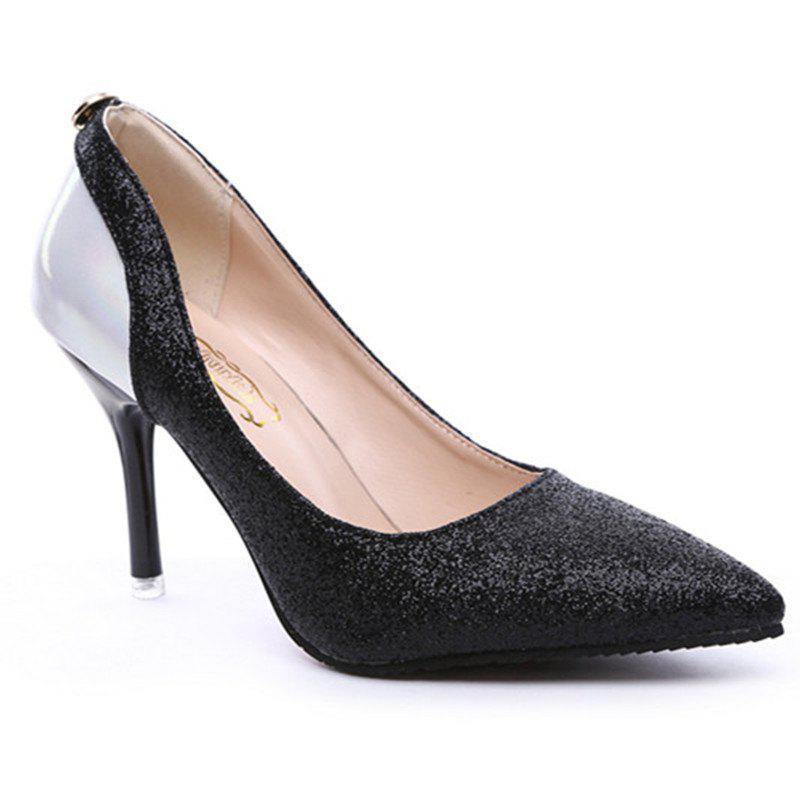 The New Female Sweet Fine with Shallow Mouth Pointed High-Heeled High-Heeled Shoes in All-Match Sequins Shoes - BLACK 39