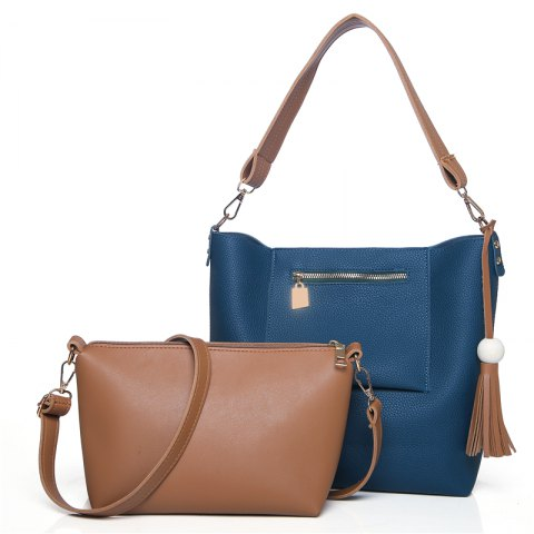 Wild Simple Messenger Bag  Pattern Handbag Fashion Shoulder Two-Piece - SAPPHIRE BLUE