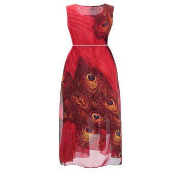 2018 New Women'S Dresses and Chiffon Print Dresses - RED S