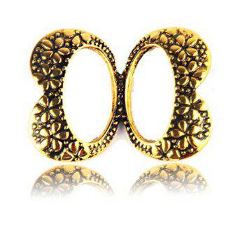 New Fashion Double Bowknot Metal Trendy Classic Retro Antique Gold Sliver Brooch Pins Jewelry For Women - GOLDEN