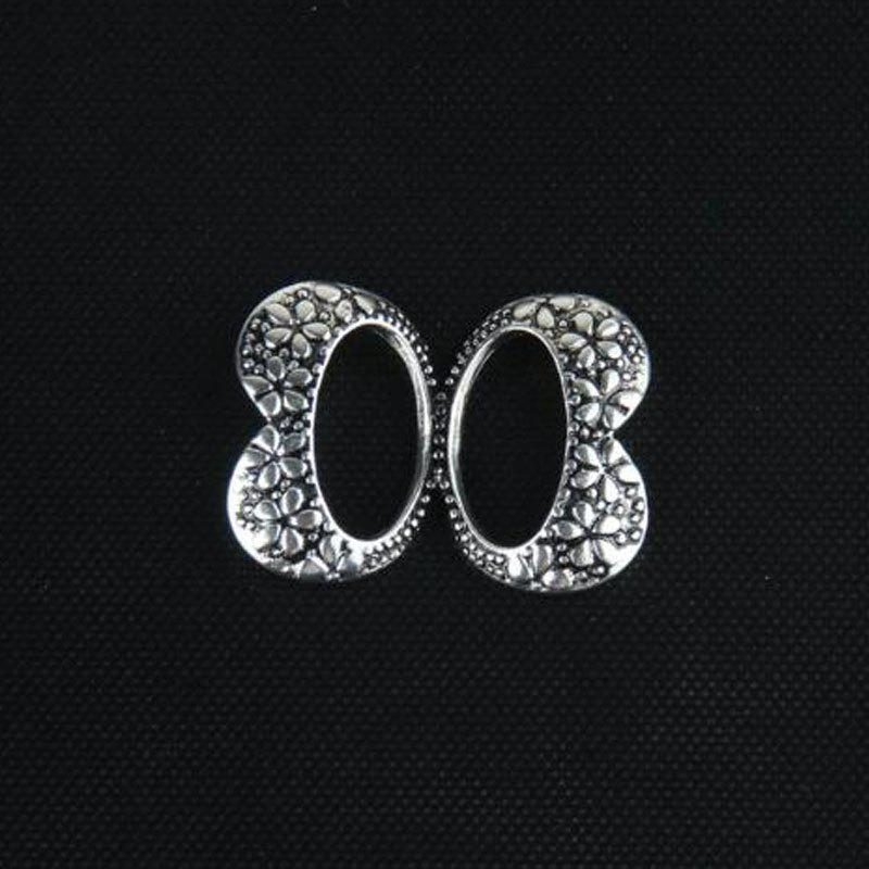 New Fashion Double Bowknot Metal Trendy Classic Retro Antique Gold Sliver Brooch Pins Jewelry For Women - SILVER