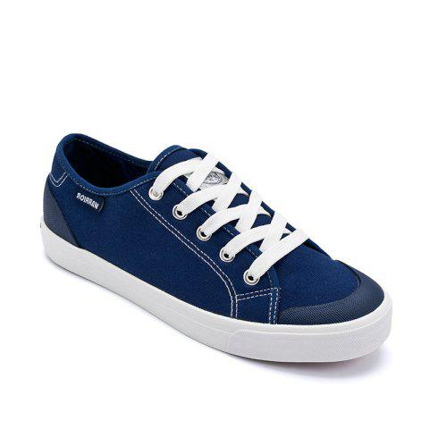 Warrior Men'S Sneakers Fashion Solid Color Canvas Lacing Sneakers - BLUE 37