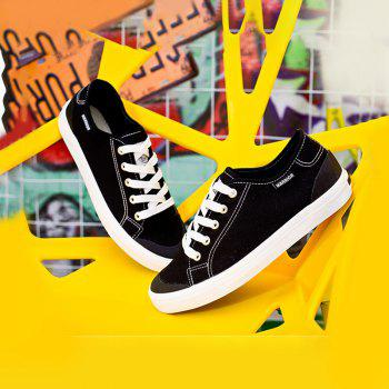 Warrior Men'S Sneakers Fashion Solid Color Canvas Lacing Sneakers - BLACK 37