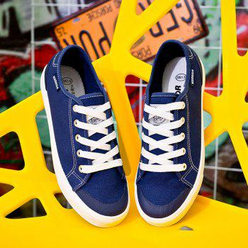 Warrior Men'S Sneakers Fashion Solid Color Canvas Lacing Sneakers - BLUE 39