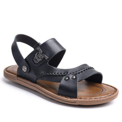 Latest Design Mens Sandal for Summer Season Leather Sandal - BLACK 39