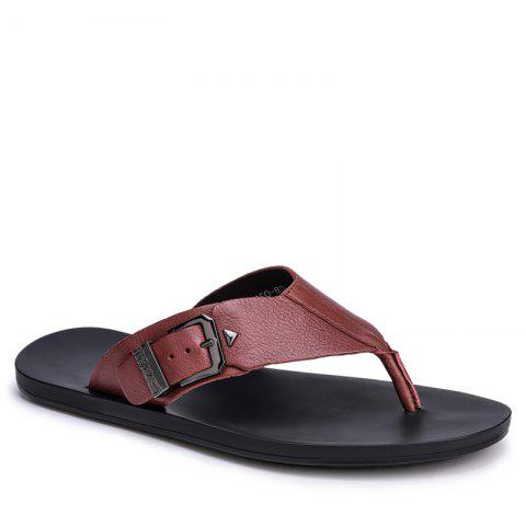 Summer Men'S Leather Slippers Sandals Good Quality Outdoor Leather Slippers - BURGUNDY 38