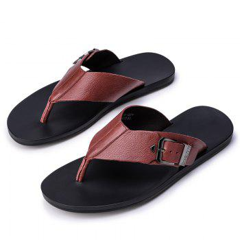 Summer Men'S Leather Slippers Sandals Good Quality Outdoor Leather Slippers - BURGUNDY 39
