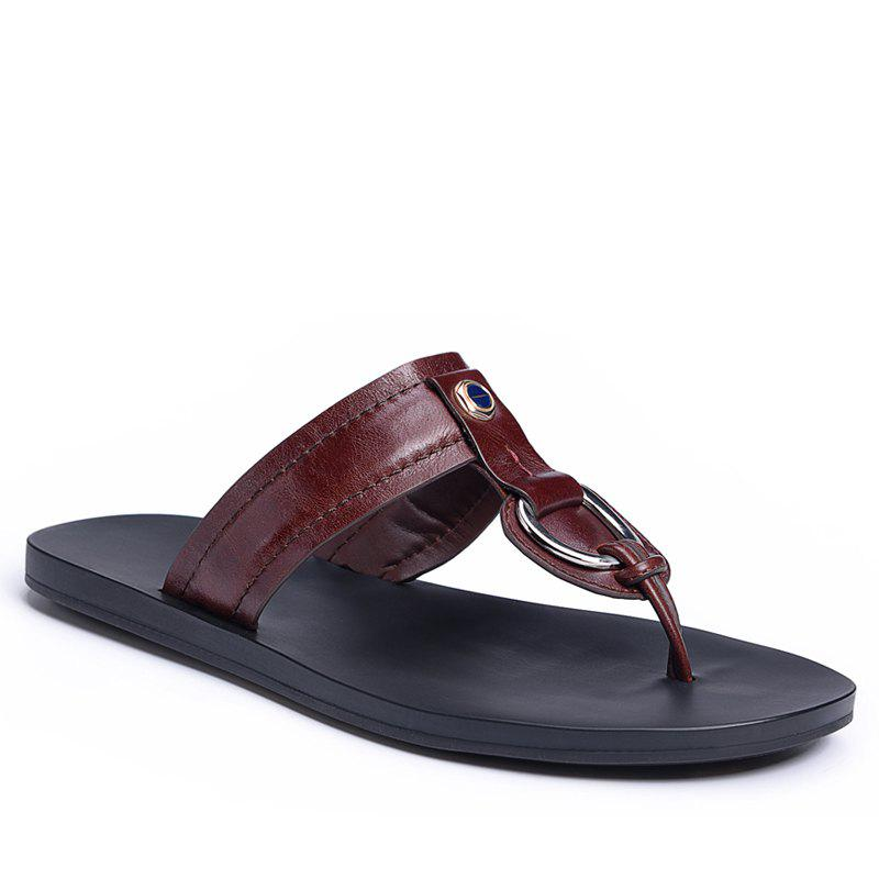 Hot Summer Leisure Leather Sandals Breathable Men Flip-Flops with Antiskid Soft Bottom Flip-Flop for Men - BURGUNDY 40