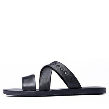 Hot Sale Outdoor Comfortable Fashion Beach Slippers Soft Upper Leather Men Sandals - BLACK 38
