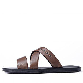 Hot Sale Outdoor Comfortable Fashion Beach Slippers Soft Upper Leather Men Sandals - MOCHA 40