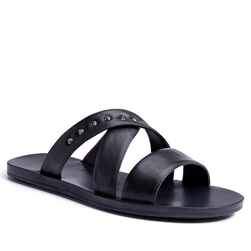 Hot Sale Outdoor Comfortable Fashion Beach Slippers Soft Upper Leather Men Sandals - BLACK 40